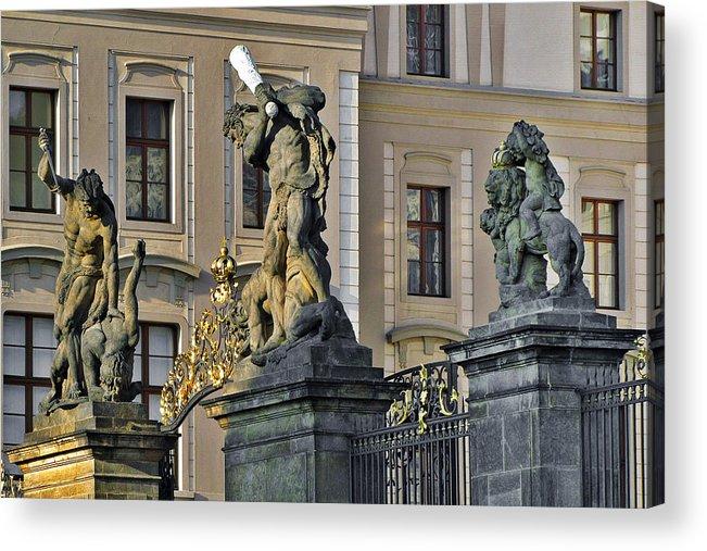 Prague Acrylic Print featuring the photograph Titans Battling Outside Prague Castle by Christine Till