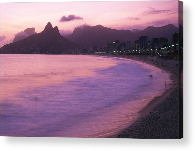 South America Acrylic Print featuring the photograph Twilight View Of Ipanema Beach And Two by Michael Melford