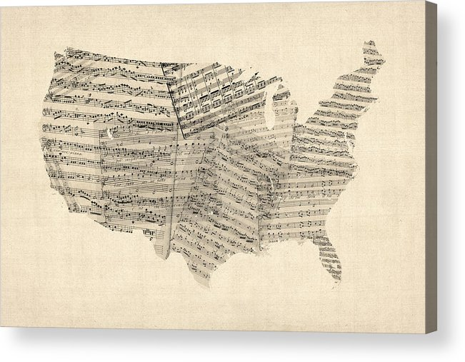 United States Map Acrylic Print featuring the digital art United States Old Sheet Music Map by Michael Tompsett