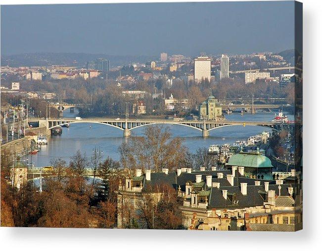 Vltava Acrylic Print featuring the photograph Vltava River In Prague - Tricky Laziness by Christine Till