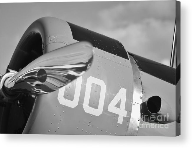 Vultee Bt-13 Valiant Acrylic Print featuring the photograph Vultee Bt-13 Valiant In Bw by Lynda Dawson-Youngclaus