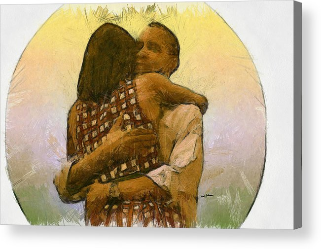 Portrait Acrylic Print featuring the drawing In Love by Anthony Caruso