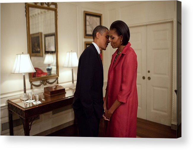 History Acrylic Print featuring the photograph President And Michelle Obama Wait by Everett