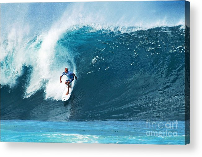 Kelly Slater Acrylic Print featuring the photograph Pro Surfer Kelly Slater Surfing In The Pipeline Masters Contest by Paul Topp