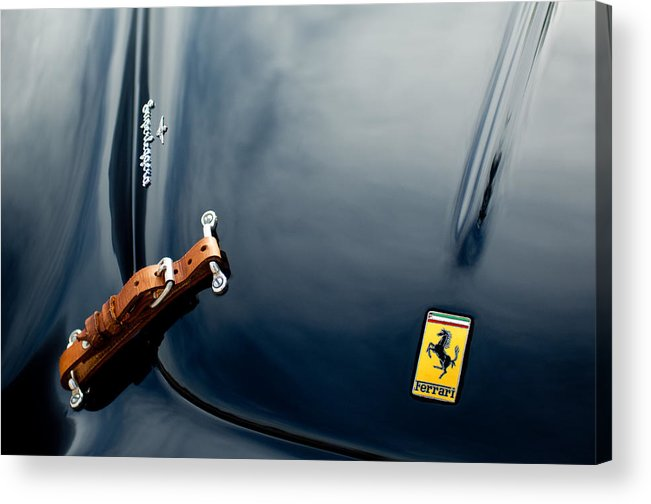 1950 Ferrari Acrylic Print featuring the photograph 1950 Ferrari Hood Emblem by Jill Reger