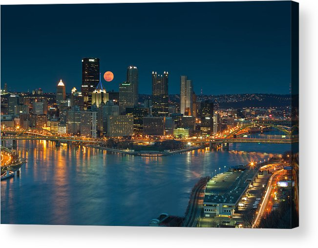 Pittsburgh Acrylic Print featuring the photograph 2011 Supermoon Over Pittsburgh by Jennifer Grover