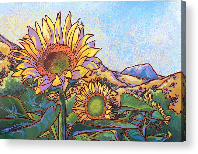Sunflower Acrylic Print featuring the painting 3 Sunflowers by Nadi Spencer