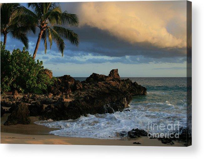 Beaches Acrylic Print featuring the photograph Aloha Naau Sunset Paako Beach Honuaula Makena Maui Hawaii by Sharon Mau