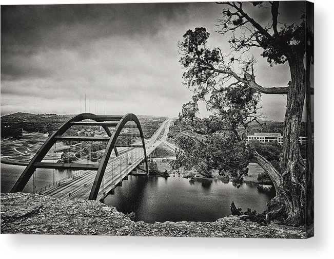 360 Bridge Acrylic Print featuring the photograph Austin 360 Bridge In Early Dawn by Lisa Spencer