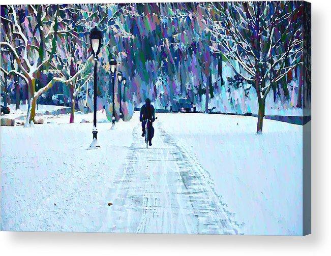 Bike Riding In The Snow Acrylic Print featuring the photograph Bike Riding In The Snow by Bill Cannon