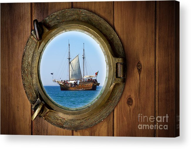 Aged Acrylic Print featuring the photograph Brass Porthole by Carlos Caetano
