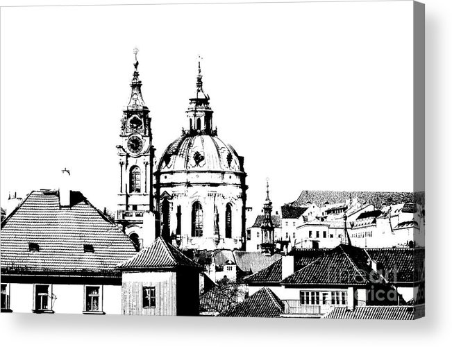 Prague Acrylic Print featuring the drawing Church Of St Nikolas by Michal Boubin