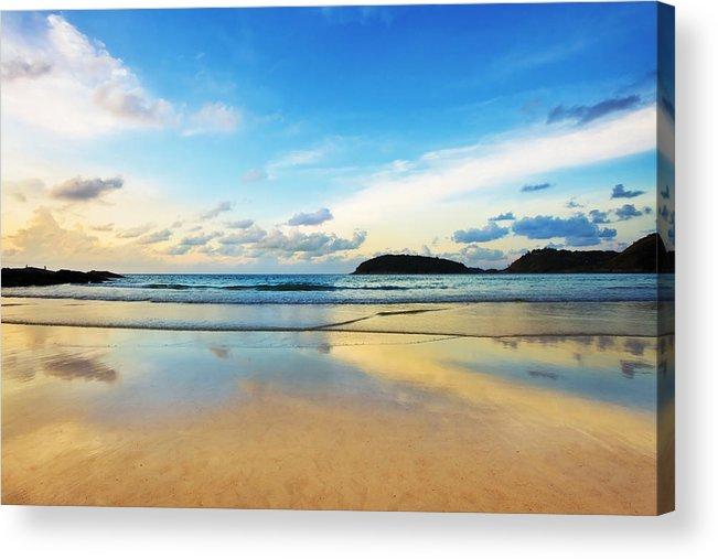 Area Acrylic Print featuring the photograph Dramatic Scene Of Sunset On The Beach by Setsiri Silapasuwanchai