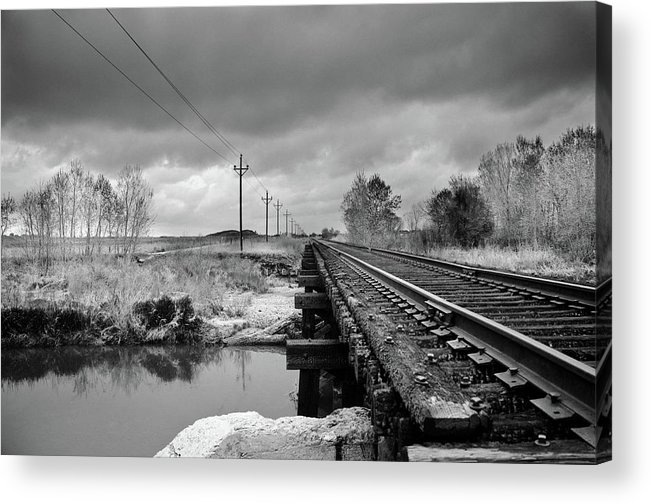 Railroad Tracks Acrylic Print featuring the photograph Into The Distance by Matthew Angelo