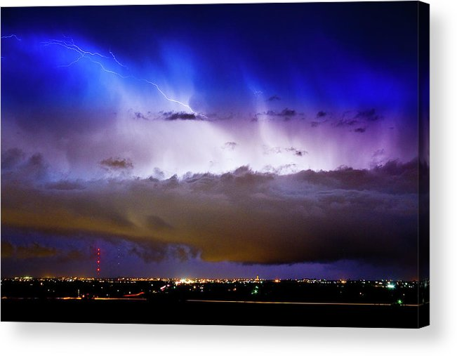 bo Insogna Acrylic Print featuring the photograph Lightning Thunder Head Cloud Burst Boulder County Colorado Im39 by James BO Insogna