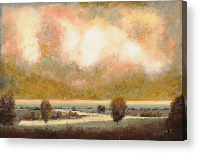 Pond Acrylic Print featuring the painting Lo Stagno Sotto Al Cielo by Guido Borelli