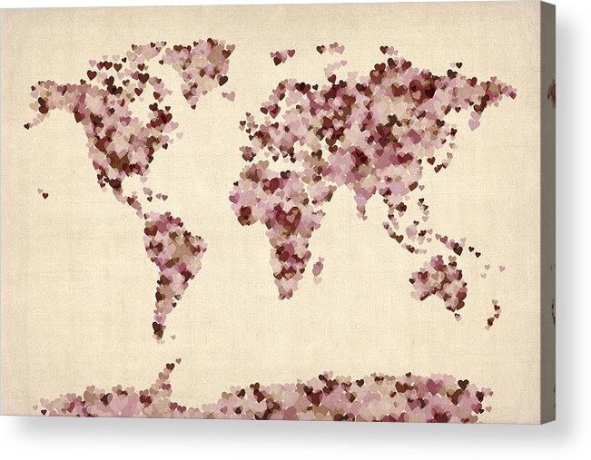 World Map Acrylic Print featuring the digital art Love Hearts Map Of The World Map by Michael Tompsett