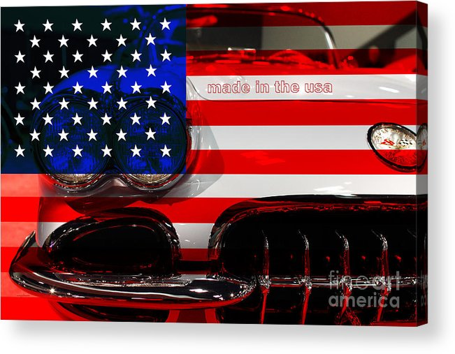 1956 Chevy Corvette Acrylic Print featuring the photograph Made In The Usa . Chevy Corvette by Wingsdomain Art and Photography