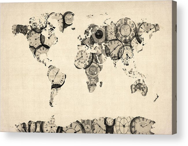World Map Acrylic Print featuring the digital art Map Of The World Map From Old Clocks by Michael Tompsett