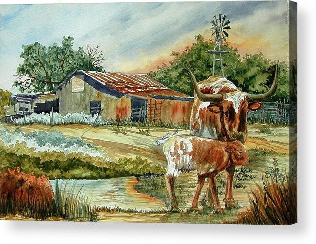 Longhorns Acrylic Print featuring the painting Momma Longhorn And Calf by Ron Stephens