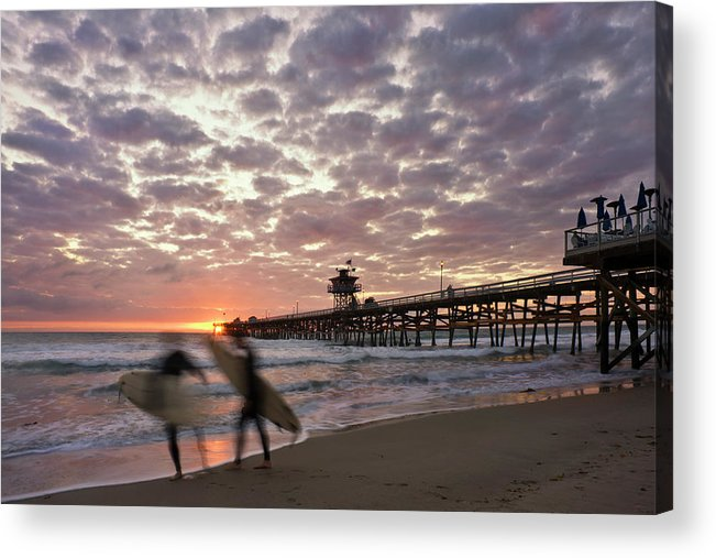 San Clemente Acrylic Print featuring the photograph Night Surfing by Gary Zuercher