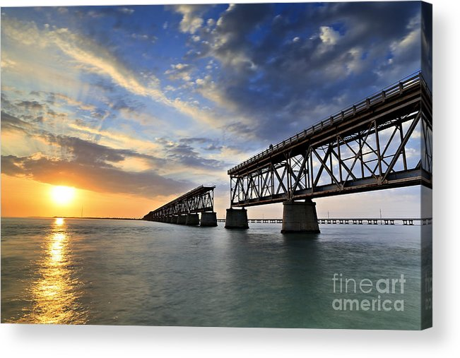 Bahia Honda Acrylic Print featuring the photograph Old Bridge Sunset by Eyzen Medina