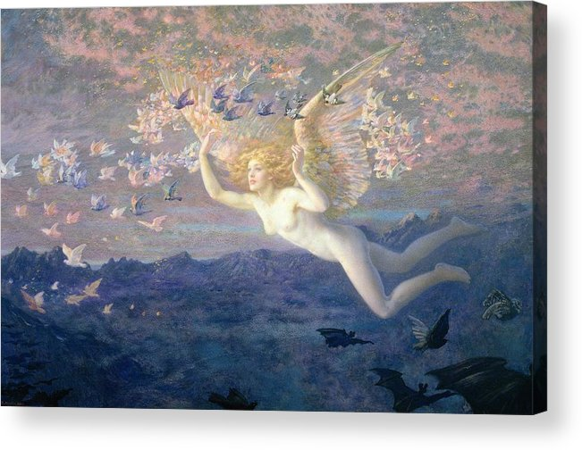 Nude Acrylic Print featuring the painting On The Wings Of The Morning by Edward Robert Hughes