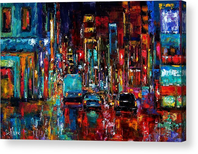 Cityscape Acrylic Print featuring the painting Party Of Lights by Debra Hurd