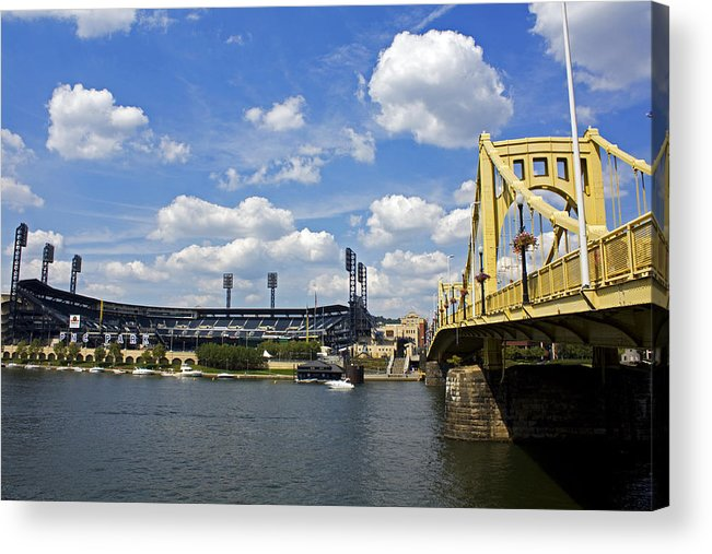 Pittsburgh Acrylic Print featuring the photograph Pnc Park And Roberto Clemente Bridge Pittsburgh Pa by Kristen Vota