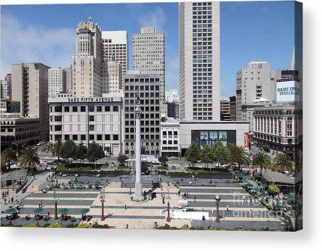Wingsdomain Acrylic Print featuring the photograph San Francisco . Union Square . 5d17938 by Wingsdomain Art and Photography