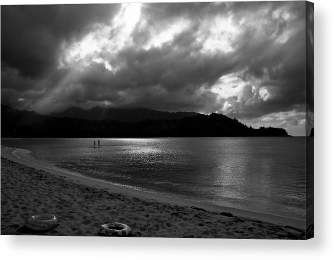 Sup Acrylic Print featuring the photograph Stand Up Paddlers In Stormy Skies by Lennie Green