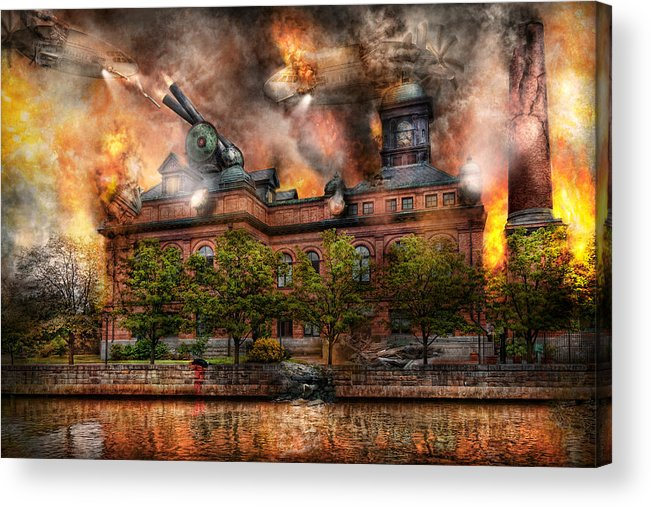 Apocalyptic Acrylic Print featuring the photograph Steampunk - The War Has Begun by Mike Savad
