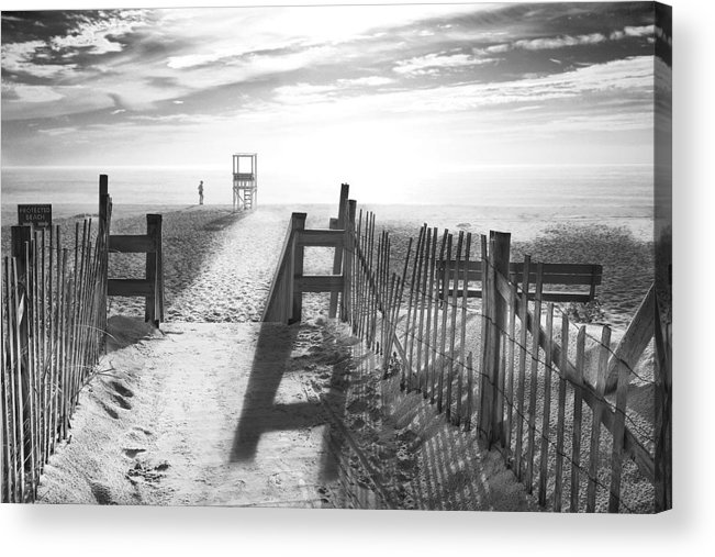 The Beach Acrylic Print featuring the photograph The Beach In Black And White by Dapixara Art