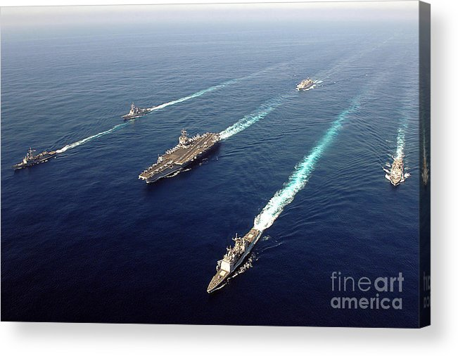 Uss Enterprise Acrylic Print featuring the photograph The Enterprise Carrier Strike Group by Stocktrek Images