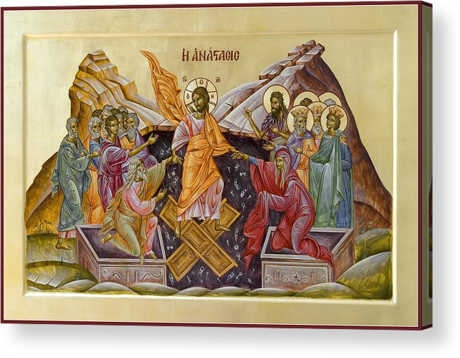 Icon Acrylic Print featuring the painting The Resurrection Of Christ by Julia Bridget Hayes