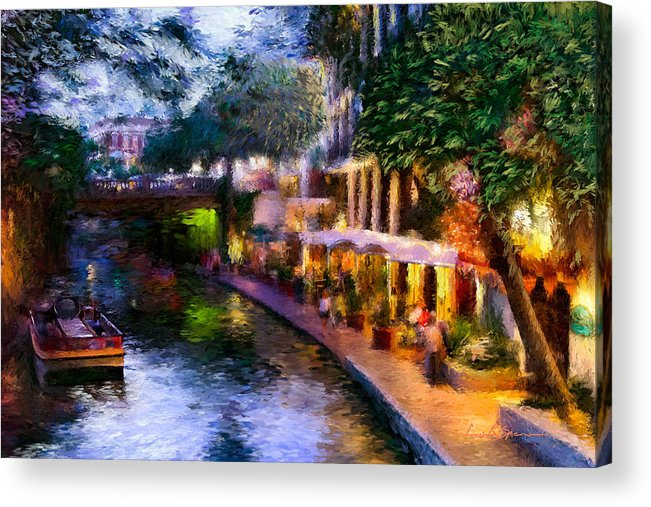 River Walk Acrylic Print featuring the painting The River Walk by Lisa Spencer