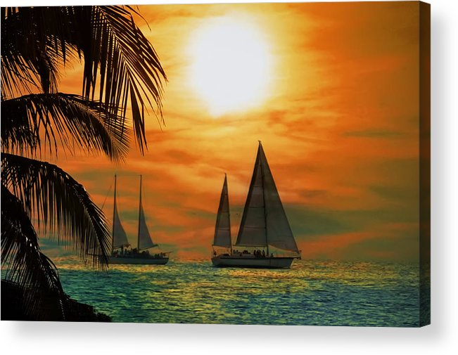 Sail Acrylic Print featuring the photograph Two Ships Passing In The Night by Bill Cannon