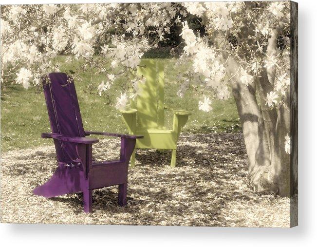 Magnolia Acrylic Print featuring the photograph Under The Magnolia Tree by Tom Mc Nemar