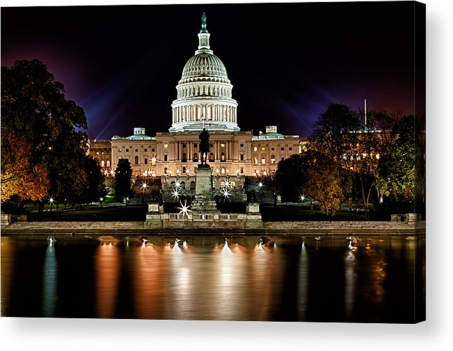 Washington Acrylic Print featuring the photograph Us Capitol Building And Reflecting Pool At Fall Night 3 by Val Black Russian Tourchin