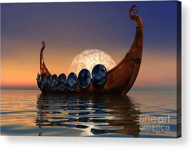 Viking Acrylic Print featuring the painting Viking Boat by Corey Ford
