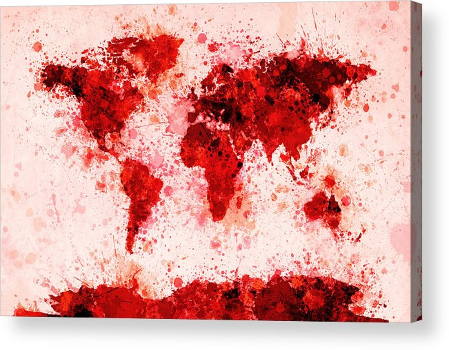 Map Of The World Acrylic Print featuring the digital art World Map Paint Splashes Red by Michael Tompsett