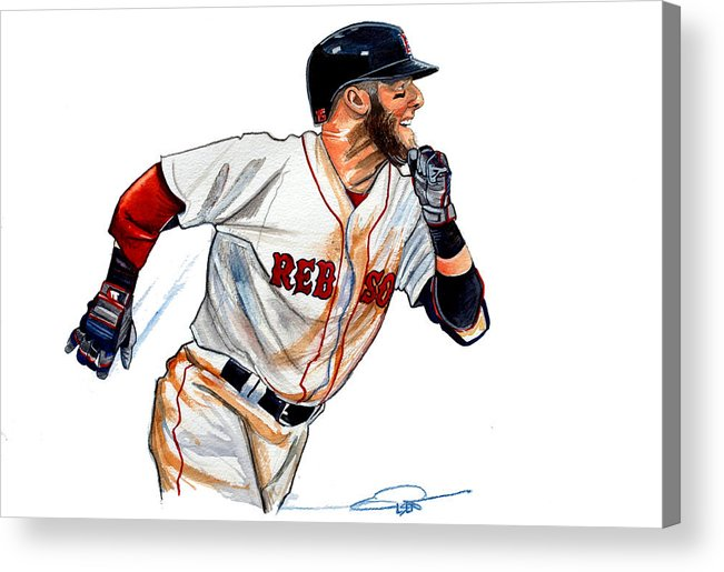 Dustin Pedroia Acrylic Print featuring the painting Dustin Pedroia by Dave Olsen
