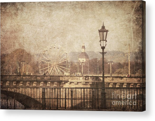 Vintage Acrylic Print featuring the pyrography Dresden by Jelena Jovanovic