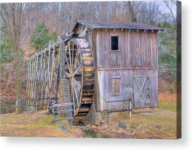 Old Acrylic Print featuring the photograph Old Mill Water Wheel And Sluce by Douglas Barnett