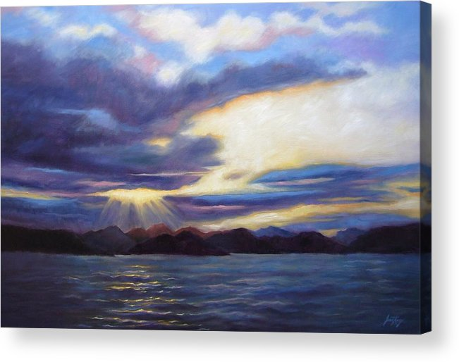 Sunset Acrylic Print featuring the painting Sunset In Norway by Janet King