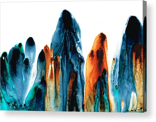 Gray Acrylic Print featuring the painting The Chosen Ones - Emotive Abstract Painting by Sharon Cummings