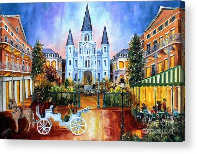 New Orleans Acrylic Print featuring the painting The Hours On Jackson Square by Diane Millsap