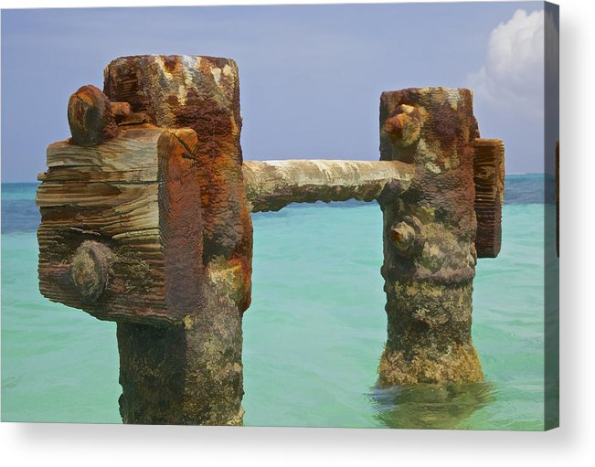 Aruba Acrylic Print featuring the painting Twin Rusted Dock Piers Of The Caribbean by David Letts