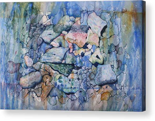 Stylized Under Water Still Life/landscape Acrylic Print featuring the painting Blue Creek Stones by Patsy Sharpe