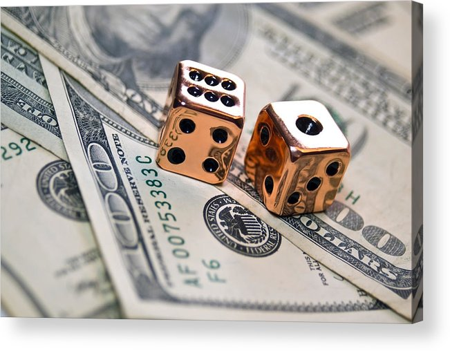 100 Acrylic Print featuring the photograph Copper Dice And Money by Susan Leggett